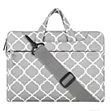 MOSISO Laptop Shoulder Bag for 15 Inch New MacBook Pro with Touch Bar A1707 2017/2016, Also Fit 14 Inch Notebook Ultrabook, Quatrefoil Canvas Briefcase Carrying Handbag Sleeve Case Cover, Gray