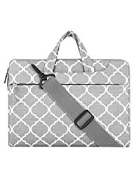 Mosiso Quatrefoil Style Fabric Laptop Sleeve Case Cover Bag with Shoulder Strap for 15-15.6 Inch MacBook Pro, Notebook Computer, Gray