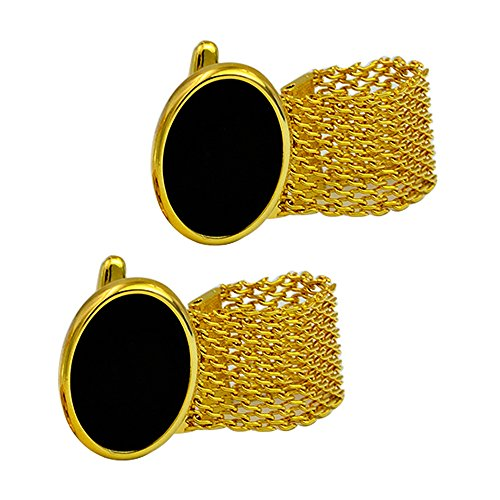 Gold-plated black onyx bullet with gold Chain cufflinks brass plated gold luxury classy style (Designer Gold Cufflinks)