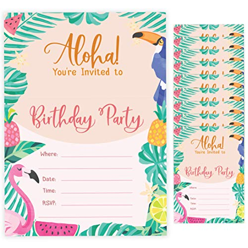 Hawaiian Aloha Style 2 Happy Birthday Invitations Invite Cards (10 Count) With Envelopes Boys Girls Kids Party -