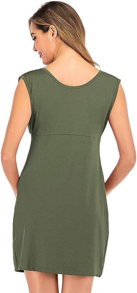 POPNINGKS Maternity Sleeveless Dress Summer Beach Pregnancy Clothes Fashion Round Neck Maternity Knit Dress for Women