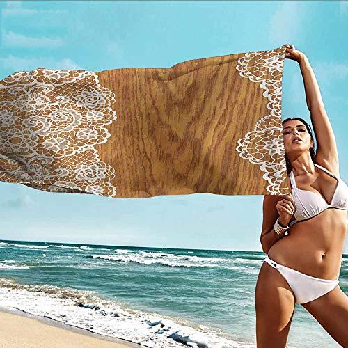 HHDSG Gym Towel,Vintage Shabby Chic Lace Pattern on Wooden Rustic Background Feminine Retro Image,Soft Fast Drying Travel Gym Washcloths,W40x20L Light Caramel White