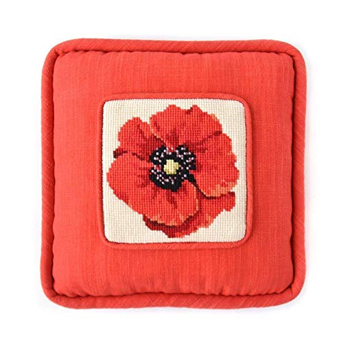 Chelsea Poppy Mini Needlepoint Tapestry Kit from Elizabeth Bradley Premium English Needlework on 10 mesh for a Beginner or Easy Project with 100% Wool Yarns