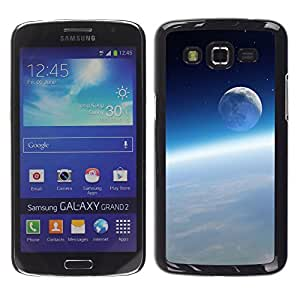 Qstar Arte & diseño plástico duro Fundas Cover Cubre Hard Case Cover para Samsung Galaxy Grand 2 II / SM-G7102 / SM-G7105 ( Space Moon Earth Atmosphere Blue Sky)