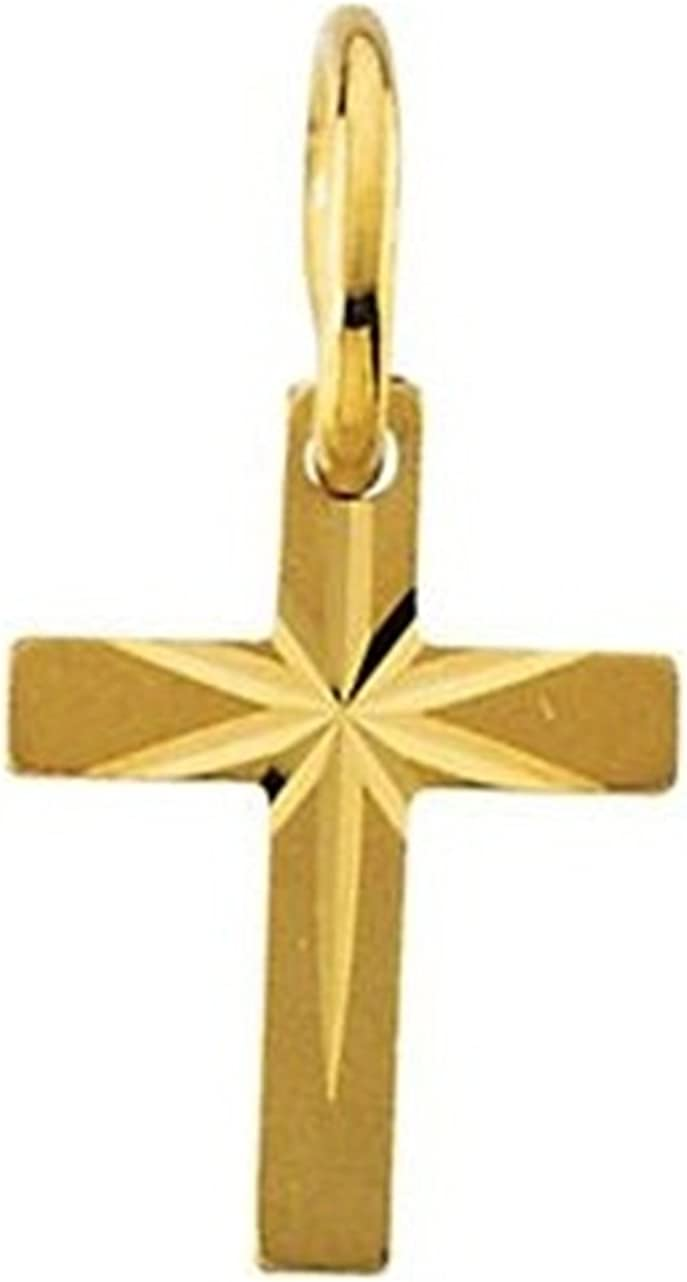 Youth Cross with Star 14k Yellow Gold Pendant 10X07.50 MM