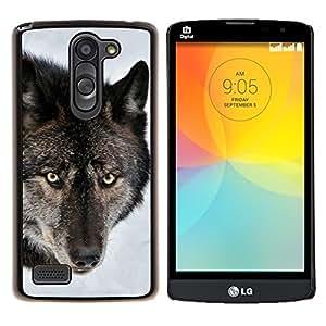 Be-Star Único Patrón Plástico Duro Fundas Cover Cubre Hard Case Cover Para LG L Prime / L Prime Dual Chip D337 ( Portrait de loup de forêt Wild Snow Visage animal )