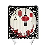 Fangkun Lantern Decor Shower Curtain Set - Chinese style Lanterns with Round Ornate Figure Graphic - Polyester Fabric Waterproof Mildew Bath Curtains - 12pcs Shower Hooks (YL079#, 72 x 72 inch)