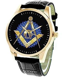 78fbde9fa2e0 Classic G Masónica Logo simbólico arte Sapphire azul y latón dorado reloj  de pulsera