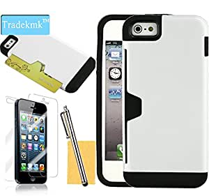 Tradekmk(TM)Multifunctional Hybrid Credit Card Holder Design High Impact Hard Back Case Cover Fit For Apple iPhone 5 5G 5S(White),with Stylus Pen,Screen Protector and Cleaning Cloth