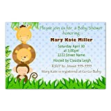 30 Invitations Personalized Blue Jungle Animals Baby Boy Shower Photo Paper