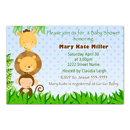 30 Invitations Personalized Blue Jungle Animals Baby Boy Shower Photo Paper by Pink The Cat