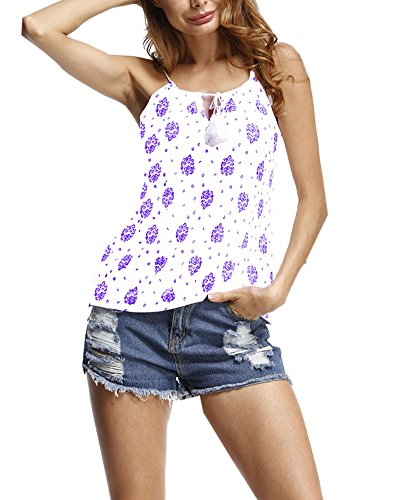 Mujer Flores Imprimir Camisa Estampadas Sin Mangas Chaleco Tank Top Blusa Camiseta Púrpura