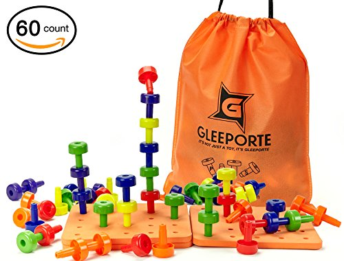 Stacking Peg Board Set Toy | JUMBO PACK | Montessori Occupational Therapy Early Learning For Fine Motor Skills, Ideal for Toddlers and Preschooler, Includes 60 Pegs & 3 Board - Gleeporte (Set Motor Learning Skill)