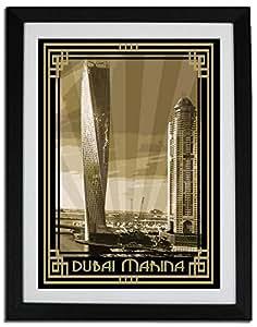 Dubai Marina- Sepia With Gold Border F06-nm (a4) - Framed
