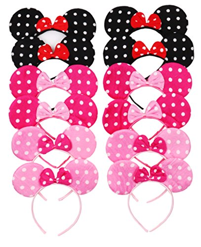Pictures Of Minnie Mouse Costumes (RufNTop Mickey and Minnie Mouse Polka Dots Ears Headband for Boys and Girls Costume Accessory for Birthday Party or Celebrations(Dots Mix Pack of 12))