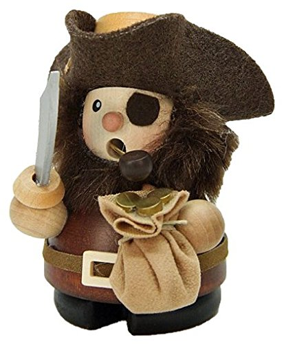 German Incense Smokers Pirate natural wood - 9cm / 4 inch - Christian Ulbricht