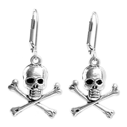 Sabai NYC Silver tone Pirate Skull Earrings with Stainless Steel Lever Back Ear Wires -