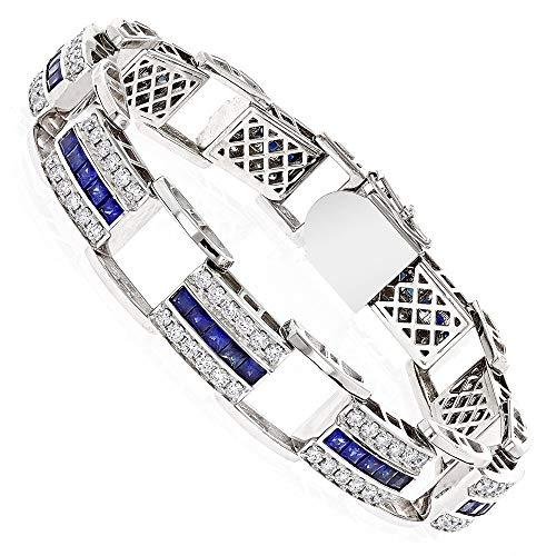 CGJ Unique 3.25ct CZ Diamond & Blue Sapphire Mens Link Tennis Bracelet in 14k White Gold Finish