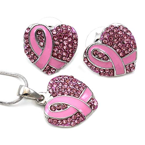 Soulbreezecollection Breast Cancer Awareness Month Accessories Pink Ribbon Heart Necklace Pendant Charm Stud Post Earrings Set