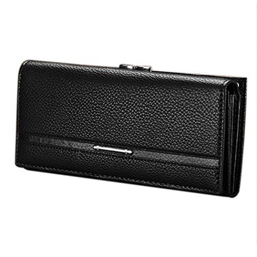 Mujeres cartera-All4you señoras botón sólido PU cuero mano bolsa de embrague largo monedero tarjeta de moneda titular (negro) Negro