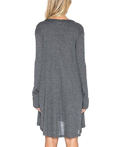 Sitengle Mujeres V Neck Largo Vestido Loose Fit Camisetas Manga Fiesta Cóctel Noche Negocios Camisas Vestidos gris