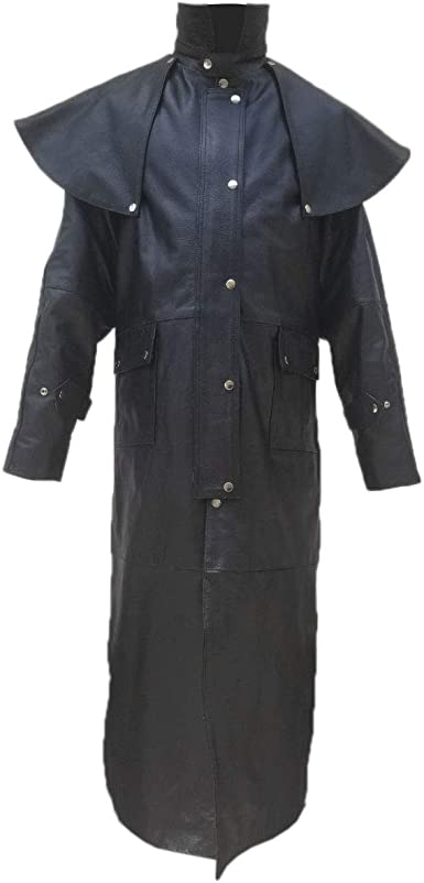 ClydeStones Mens Pure Black Cow Leather Trench Steampunk Gothic Duster Coat