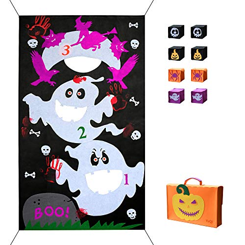 YuQi [8 Bags Included] Halloween Bean Bag Toss Games, Fun Carnival Corn Hole Party Game Camp Activities Set(Halloween Ghost)]()