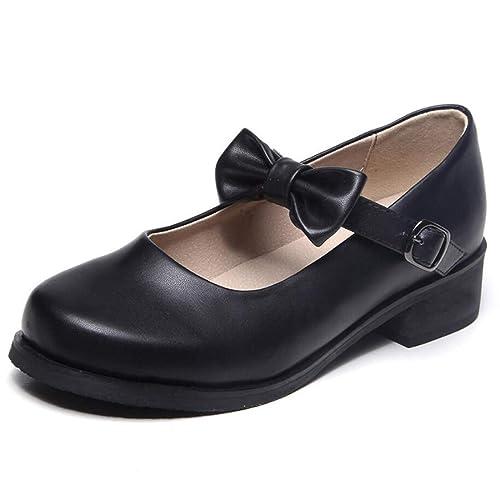 Zapatos de Mujer Estilo colegial Mocasines pastorales Hebilla de Arco Zapatos Mary Jane: Amazon.es: Zapatos y complementos