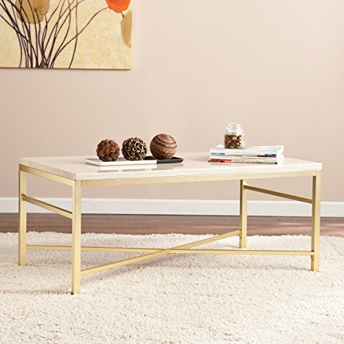 Southern Enterprises Orinda Faux Stone Cocktail Table, Faux Travertine Matte Brass Finish - Brass And Glass Coffee Table