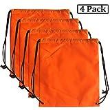 AVESON Pack of 4 Portable Travel Dust-proof Waterproof Nylon Travel Shoe Organizer Tote Bags w/Drawstring, 15'x13', Orange