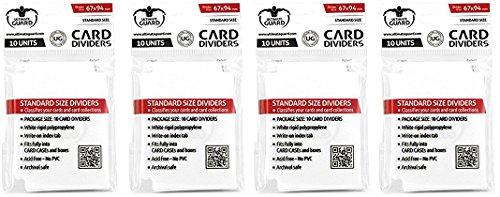 40 Ultimate Guard Trading Card Dividers (4 10ct Packs) White