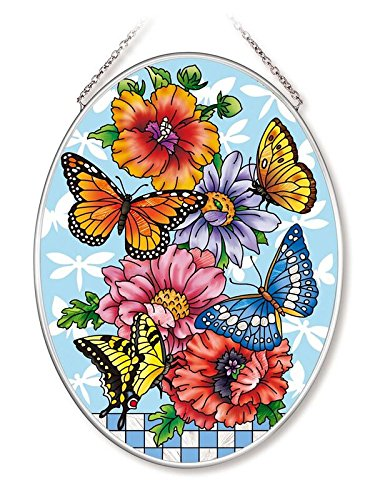 Amia Butterflies and Dragonflies Glass Oval Suncatcher