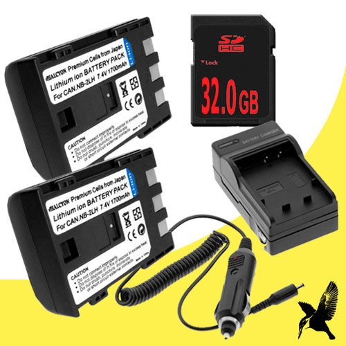 Two Halcyon 1700 mAH Lithium Ion Replacement Battery and Charger Kit + 32GB SDHC Class 10 Memory Card for Canon DC330 1.07MP DVD Digital Camcorder and Canon NB-2LH