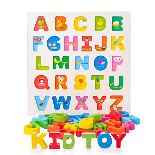 Wooden Alphabet Puzzle ABC Jigsaws Chunky Letters Early Learning Toys for Kindergarten and Toddlers-est Educational Toy Preschool Learning, Spelling, Counting