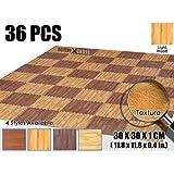 Activecrosss New 36 Pieces Deep Wood Mats Interlocking Foam Tiles Anti-fatigue Exercise and Fitness Gym Foam Floor Mat 30 X 30 X 1 cm (11.8 X 11.8 X 0.4 in) Light Wood AC1120