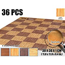 Activecrosss New 36 Pieces Deep Wood Mats Interlocking Foam Tiles Anti-fatigue Exercise and Fitness Gym Foam Floor Mat 30 X 30 X 1 cm (11.8 X 11.8 X 0.4 in) Light Wood AC1120