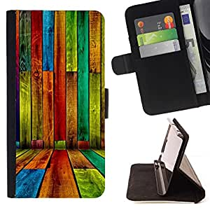 For HTC One M9 COLORED WOOD - GRUNGE PATTERN Style PU Leather Case Wallet Flip Stand Flap Closure Cover