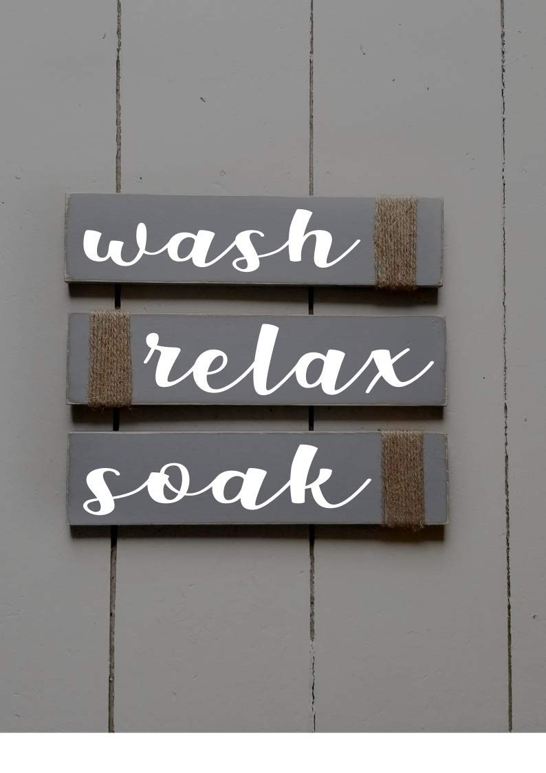 Amazon Com Rustic Bathroom Signs Wash Relax Soak Gray Horizontal White Farmhouse Wooden Signs For Bathroom Decor Primitive Wood Signs Script Set Of Three Handmade