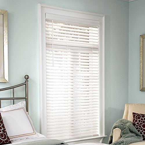 Lumino Faux Wood 2″ Cordless Room Darkening Blinds White – 24″ W x 60″ H (Over 250 Add'l Custom Sizes) – Starting at $14.99
