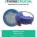 Washable & Reusable Pre & Post-Motor Filters for Dyson DC24 Vacuums; Compare to Dyson Part Nos. 915928-01, 913788-01; Designed & Engineered by Think Crucial