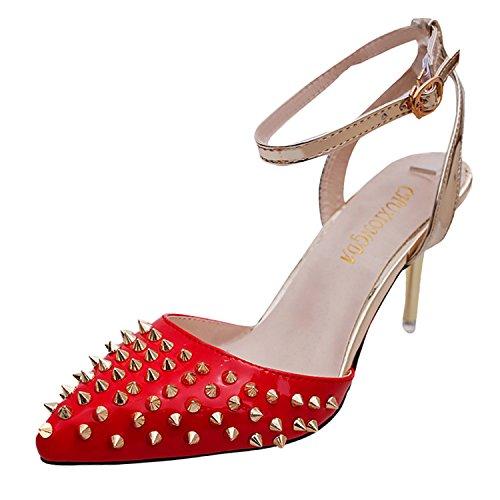 Azbro Mujer Zapatos Estilete Bomba Tacón con Remache Puntera Punta Color Bloque Rojo
