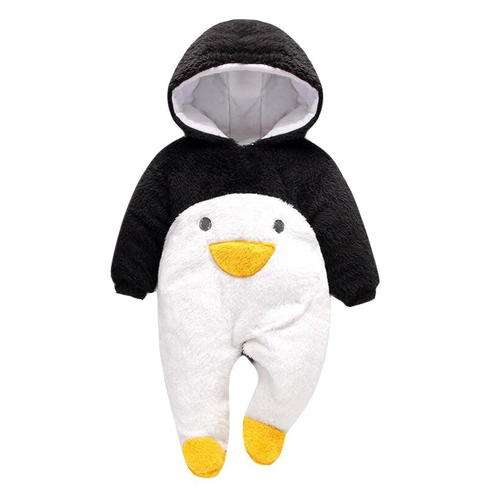 VLUNT /Épaisse Combinaisons B/éb/é Barboteuse Fermeture Boutons Grenouill/ères pour Bebe Fille Gar/çon Pingouin, Noir, 0-3 Mois Automne et Hiver V/êtements de B/éb/é Adorable Romper