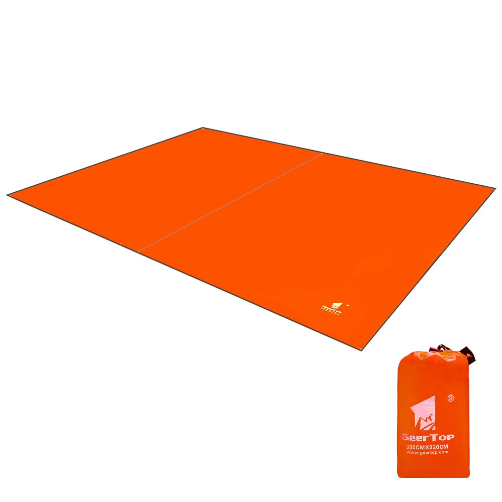 Geertop Oxford Fabric 4-5 Men Footprint Ground Sheet Tent Tarp Mat Canopy (9'10'' x 7'3'') Waterproof for Camping Hiking Picnic Fishing (Orange)