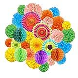 M-Aimee 20 Pcs Rainbow Color Paper Pom Poms, 6 Pcs Paper Fans Tissue Paper, 4 Pcs Honeycomb Balls for Party, Baby Shower, Wedding Festival Decorations - Multicolor