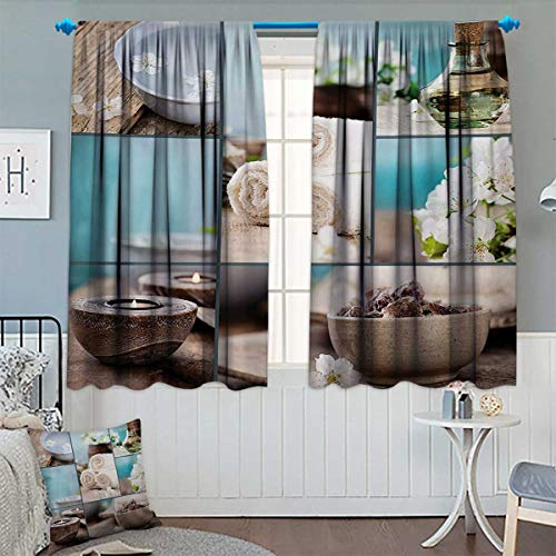Spa Thermal Insulating Blackout Curtain Far East Close to Your Heart Asian Massage Theme Collage Oils Candles Flowers Print Patterned Drape for Glass Door 55
