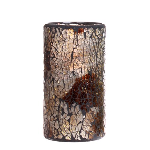 GiveU Mosaic Flameless Pillar Led Wax Candle with Timer, 3 x 6, for Home Party & Festival Celebration, Multi Brown