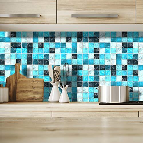 HIKO23 19PCS Mosaic Tile Design Wall Sticker Peel and Stick DIY Decals for Kitchen, Bathroom Decorative Home Decoration Window Decor (B) ()