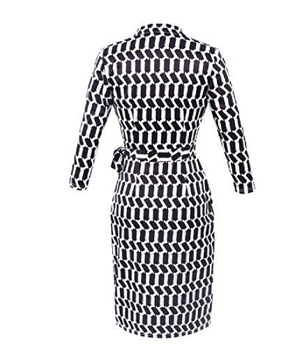 collo Vestito Profondo Coolred Dell'anca Del formato Plaid donne Pacchetto Più Benda Nero V 66ZWpnP