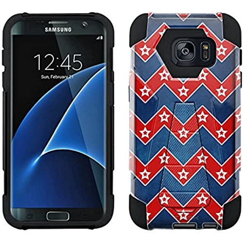 Samsung Galaxy S7 Edge Hybrid Case Patriotic Chevrons with Stars 2 Piece Style Silicone Case Cover with Stand for Samsung Galaxy S7 Edge Sales