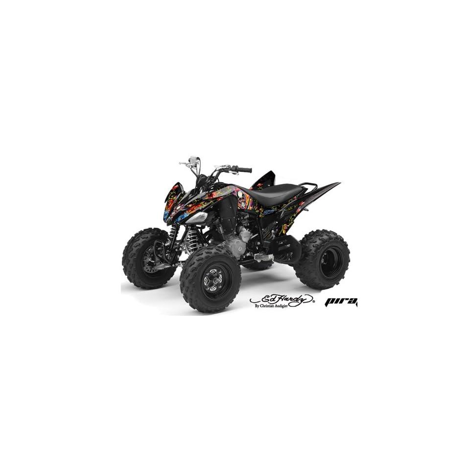 Ed Hardy AMR Racing Yamaha Raptor 250 ATV Quad Graphic Kit   Pirates Black
